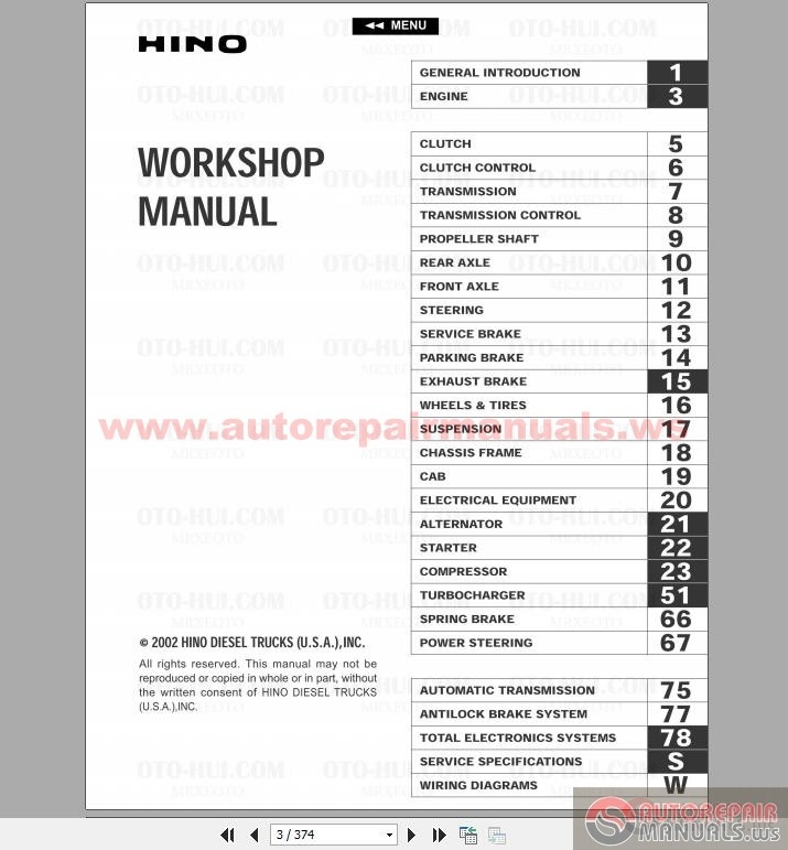 Hino Fd  Fe  Ff  Sg Engine Service Manual 2002