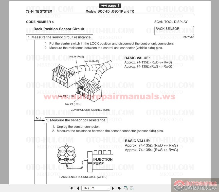 Hino Fd Fe Ff Sg Engine Service Manual 2002 Auto Repair