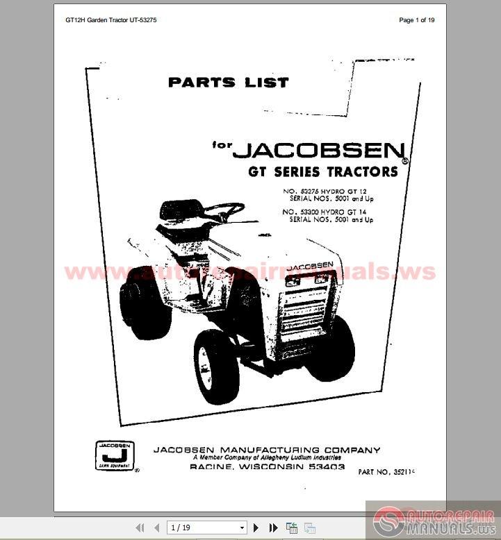 jacobsen gt12 parts list