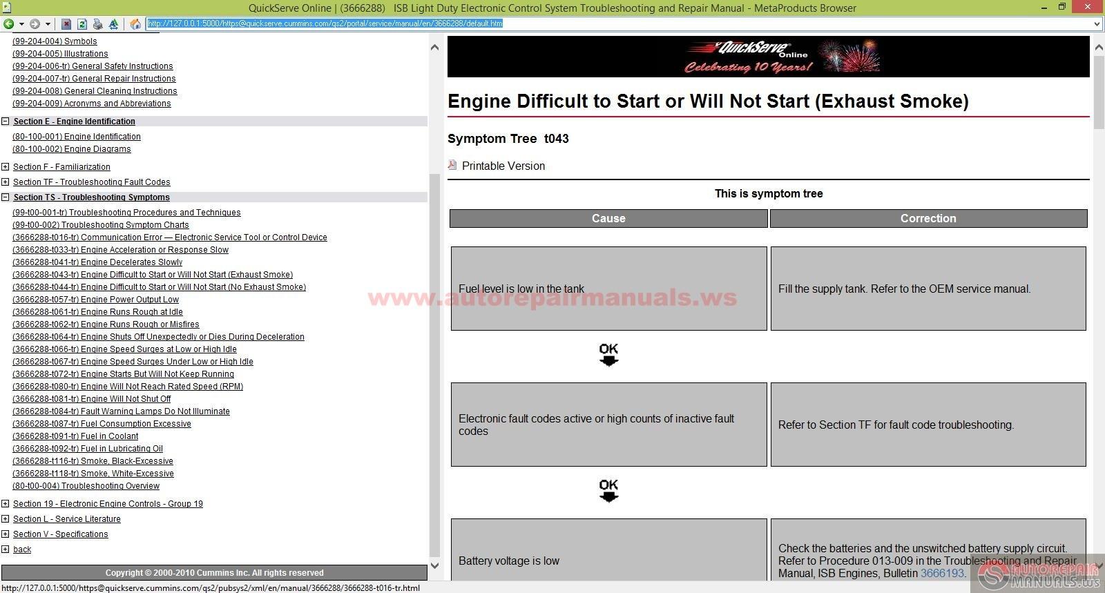 Keygen Autorepairmanuals Ws  Cummins Isb Light Duty Electronic Control System Troubleshooting