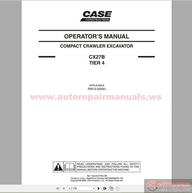 case crawler excavator cx27b tier 4 operators manual. Black Bedroom Furniture Sets. Home Design Ideas