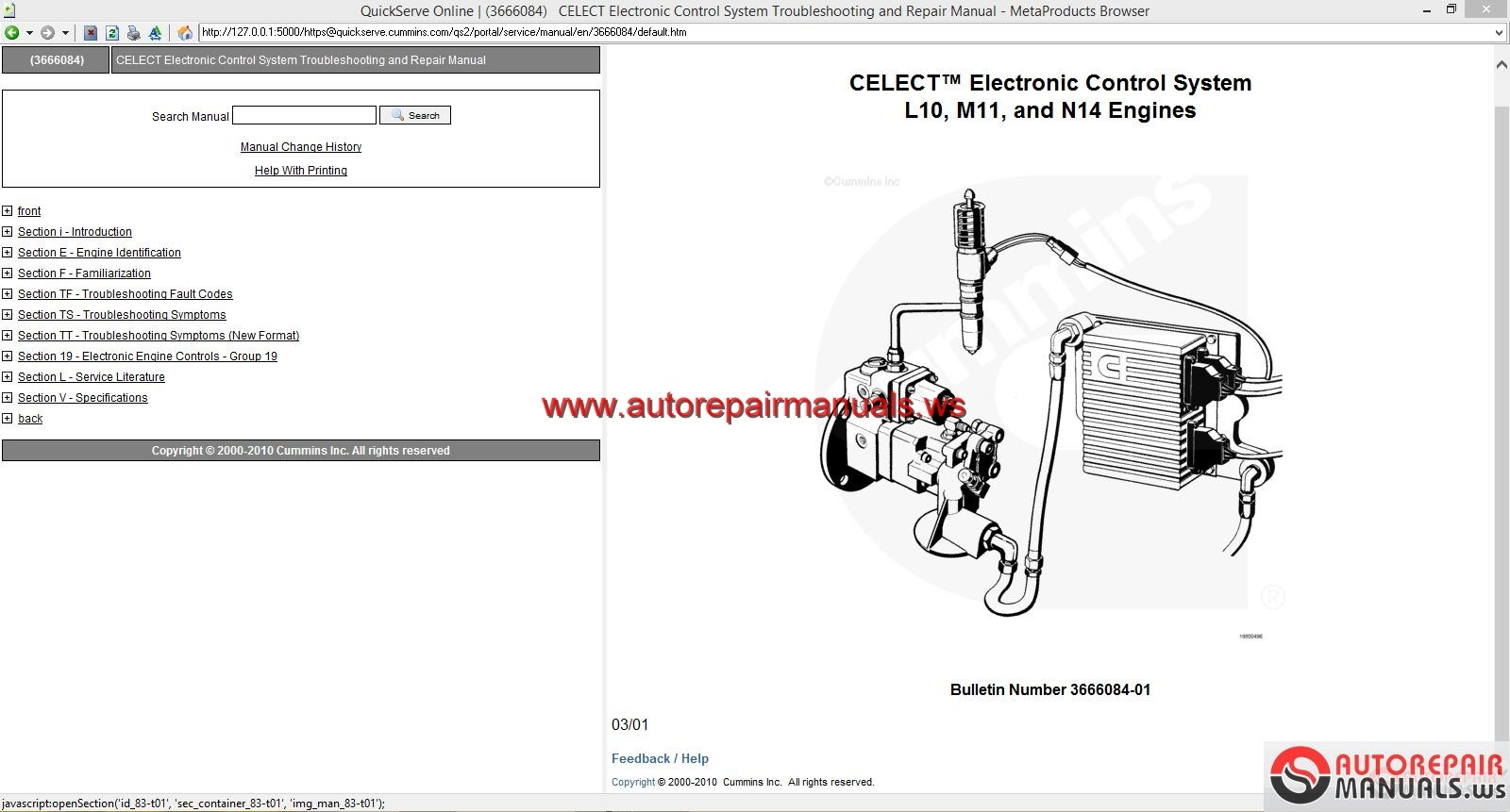 cummins celect electronic control system l m and n engines back