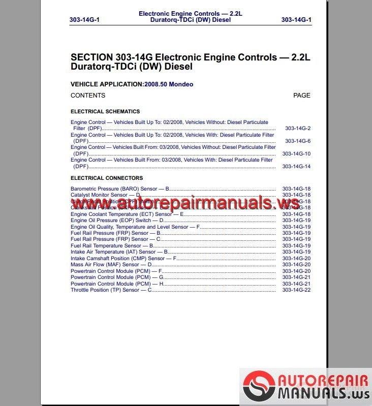 Ford Mondeo 2008-2009   Eu  Wiring System Diagram