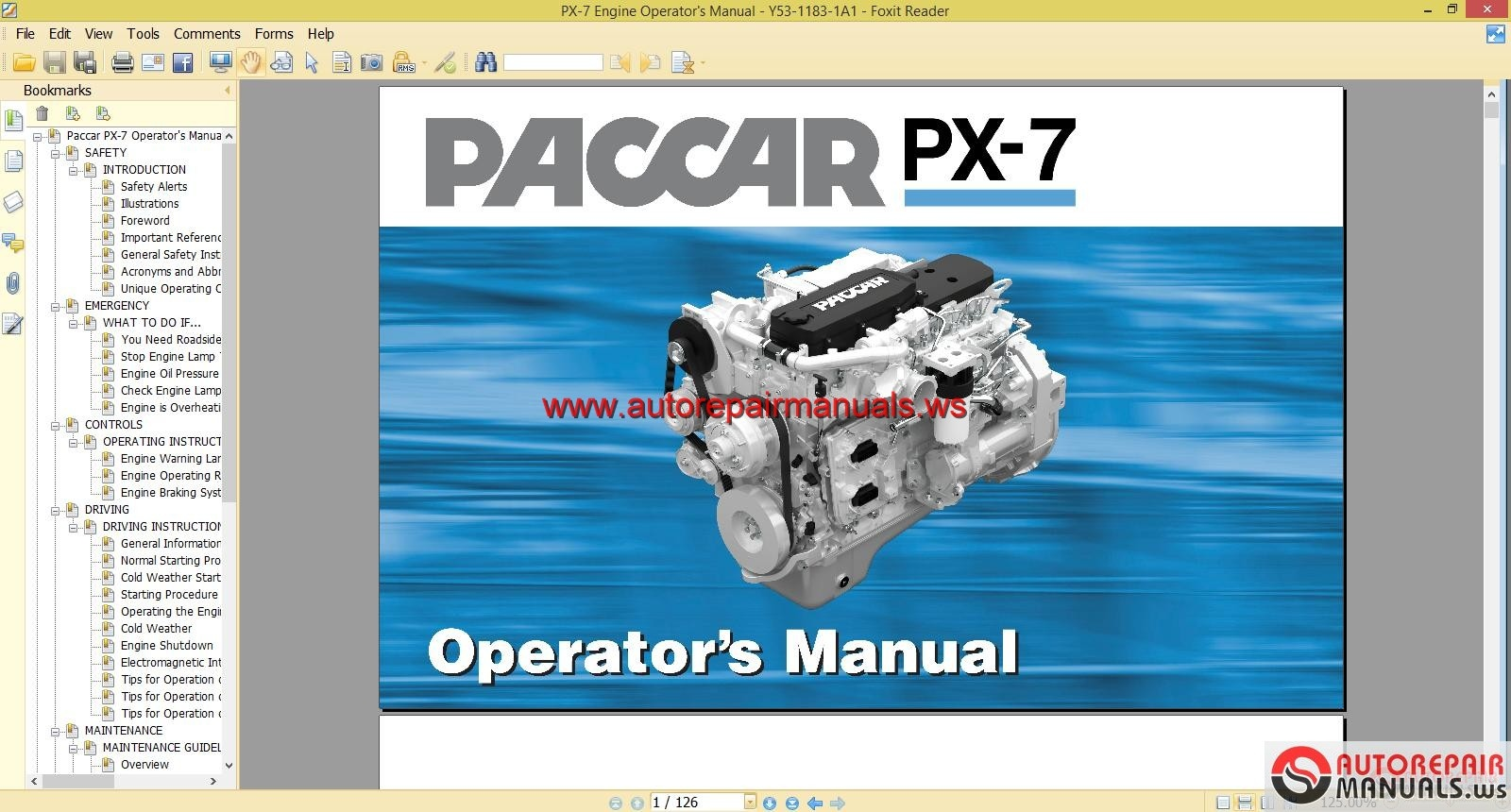 Paccar Engine Manuals Paccar Px-7 Engine Operator Manual