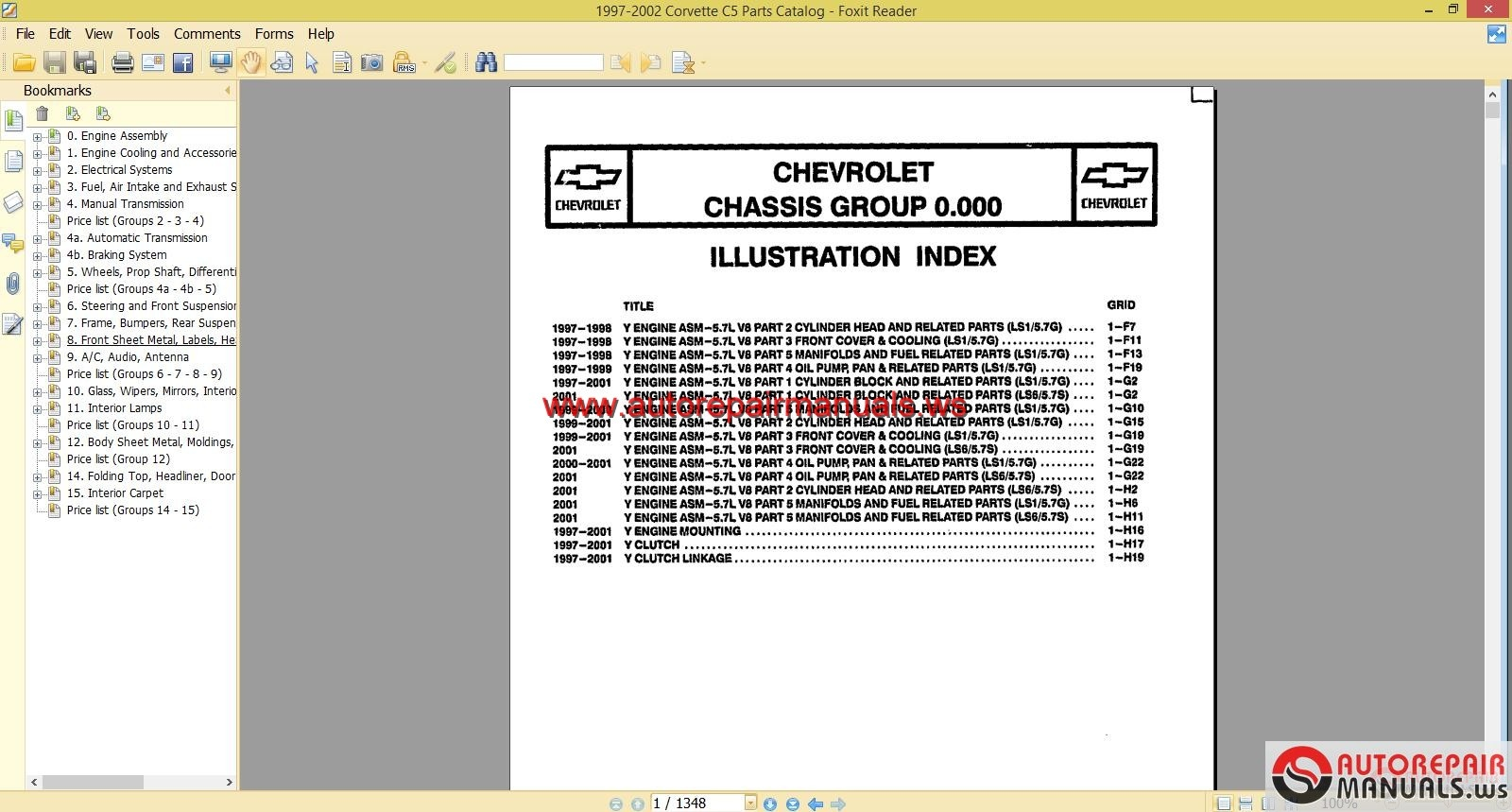 chevrolet corvette c5 5 7l 1997 2002 parts manual auto