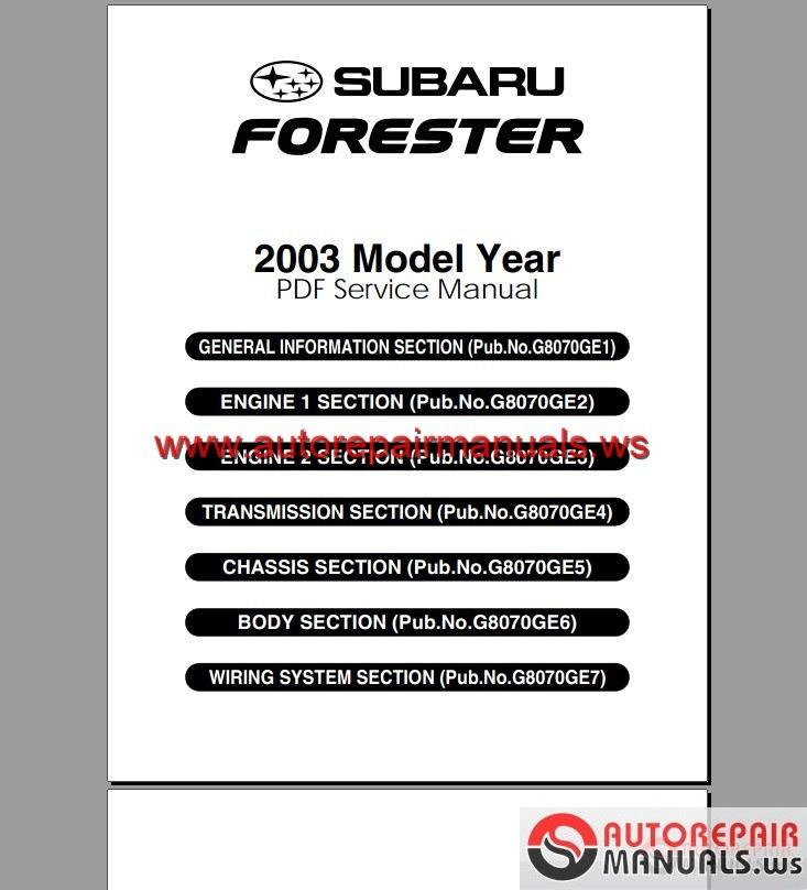 2015 Subaru Forester Transmission: Subaru Forester 2003 Service Manual