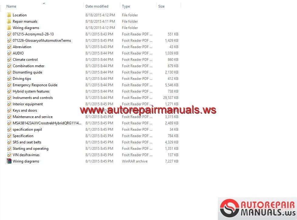 Subaru Xv Cross Hybrid 2014 Usa Workshop Manual