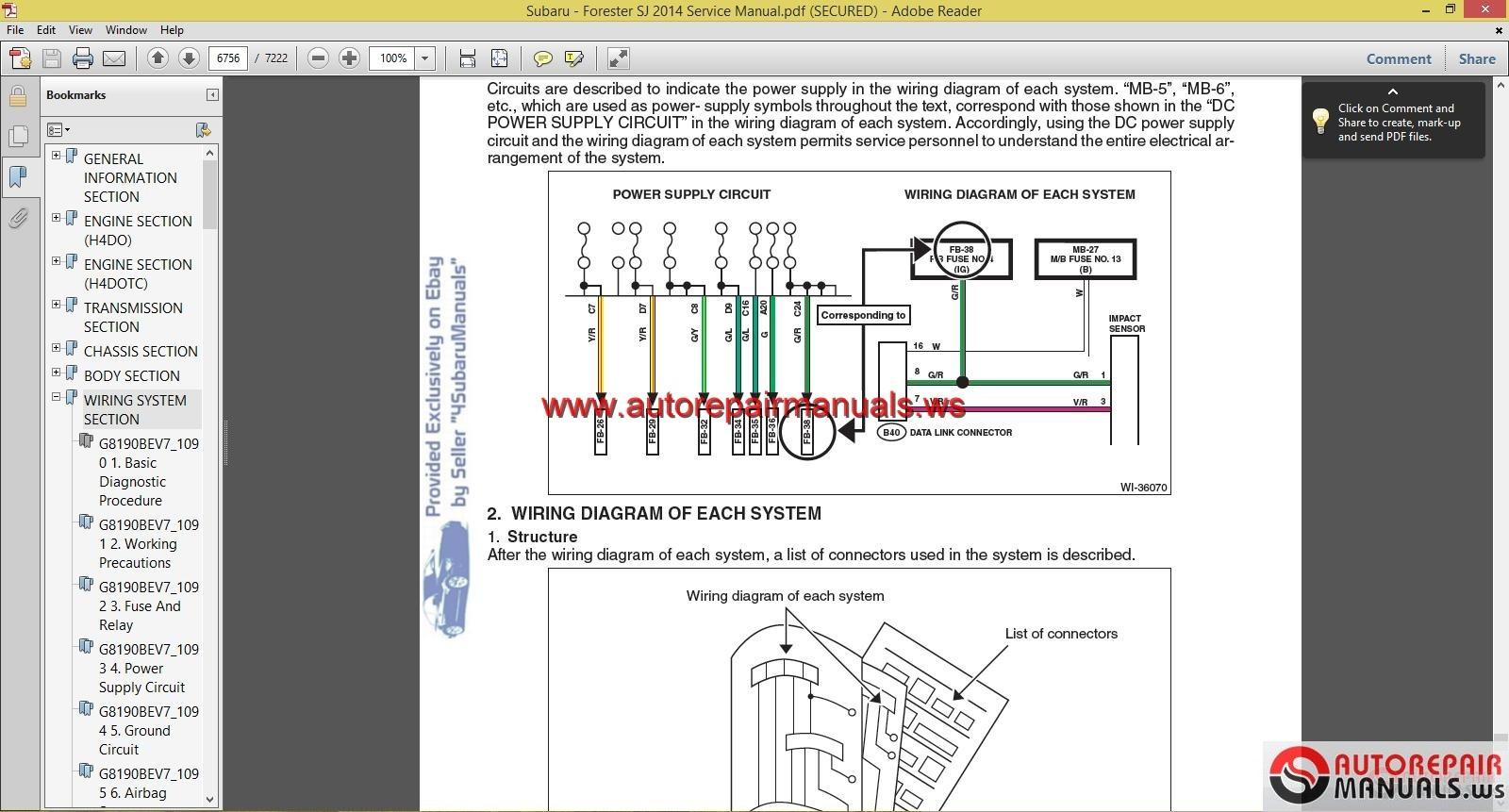 2009 Subaru Forester Wiring Diagram Subaru Forester I Need The