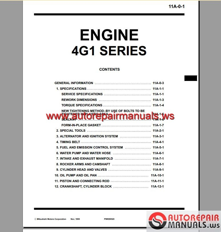Mitsubishi g engine manual auto repair forum