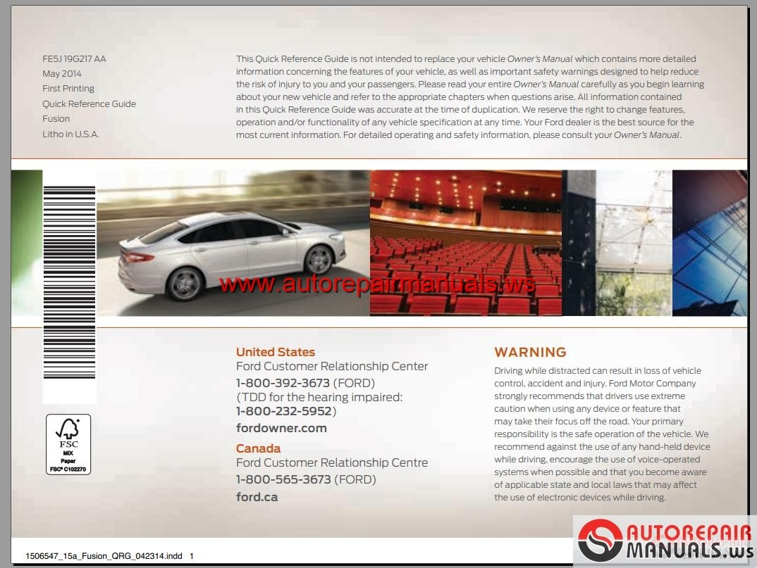 ford fusion 2015 usa workshop manual
