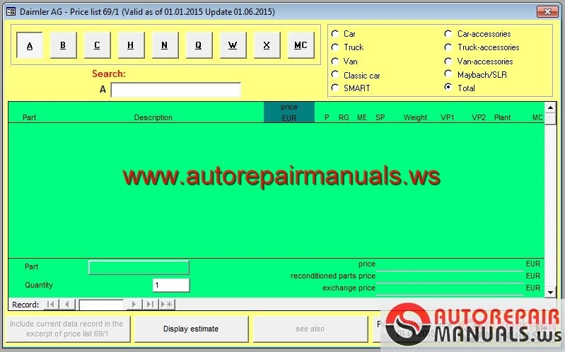Keygen mercedes benz price list 69 1 for Mercedes benz service a checklist