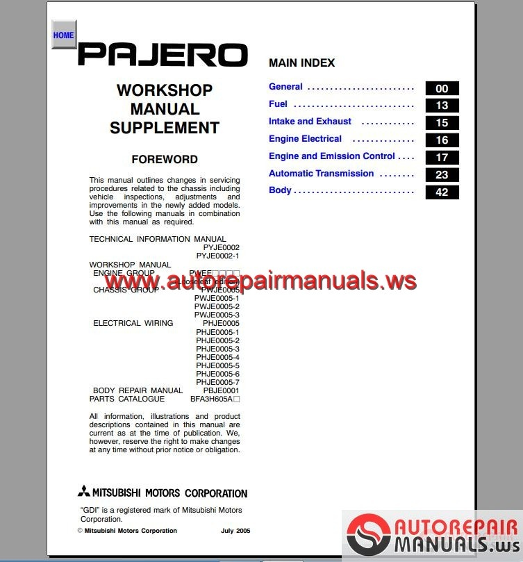 mitsubishi pajero 2001 2006 service manual auto repair manual rh autorepairmanuals ws 2005 mitsubishi pajero workshop manual 2005 mitsubishi montero owners manual