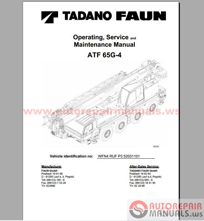 Tadano Cranes Operation Service And Maintenance Manual