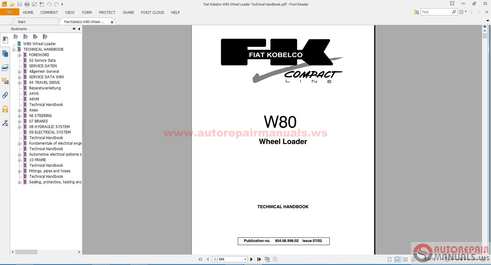 fiat kobelco w80 wheel loader technical handbook