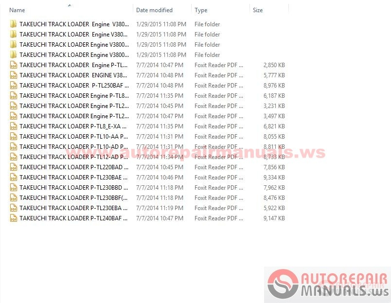 Takeuchi Tl140 Parts Manual