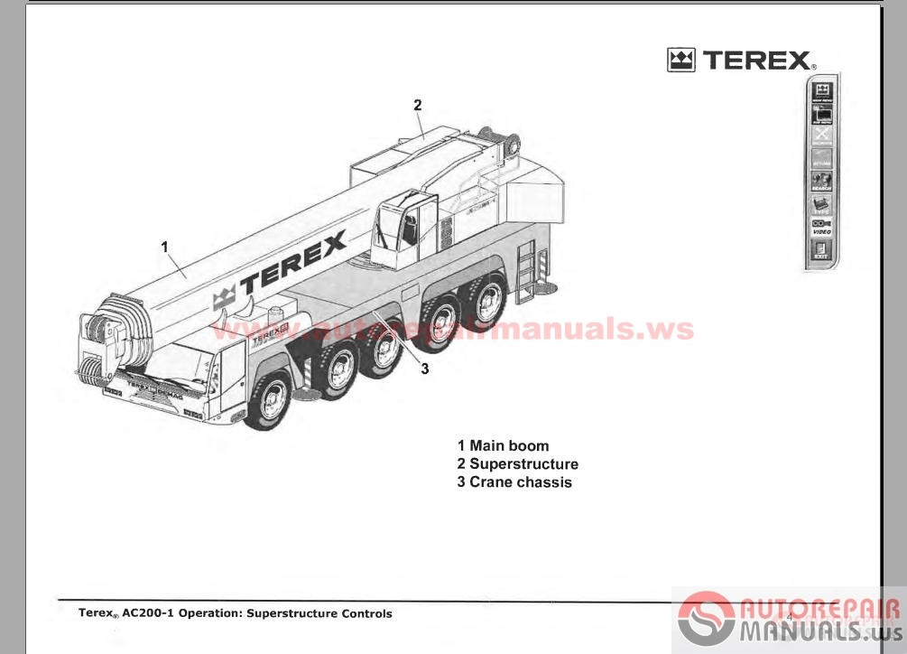 Terex Crane Shop Manual, Parts Manual, Operation and