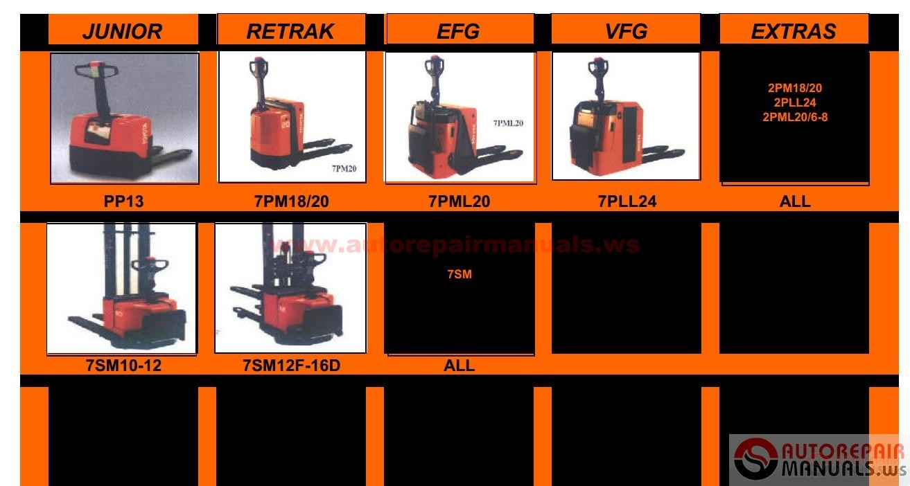 toyota forklift industrial equipment repair manual auto repair toyota forklift trucks service manuals repair manuals electrical wiring diagrams specifications models 7 fb 7fbmf g dpf2 sas 7sm all 7sm10 12 7sm12f 16s