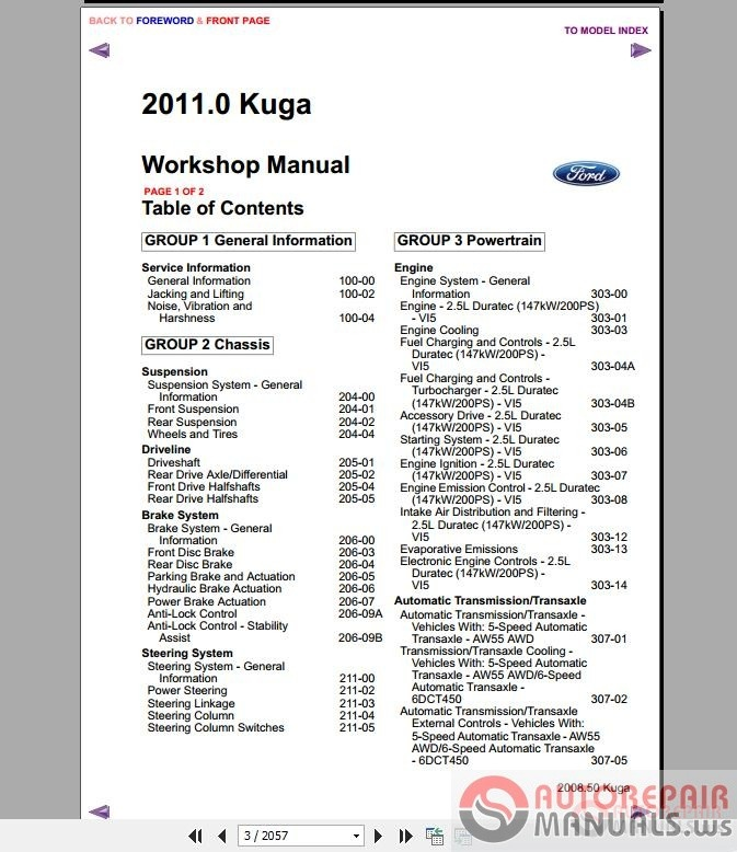 Ford Kuga MK1 2011 Workshop Manual + Wiring Diagram | Auto Repair ...