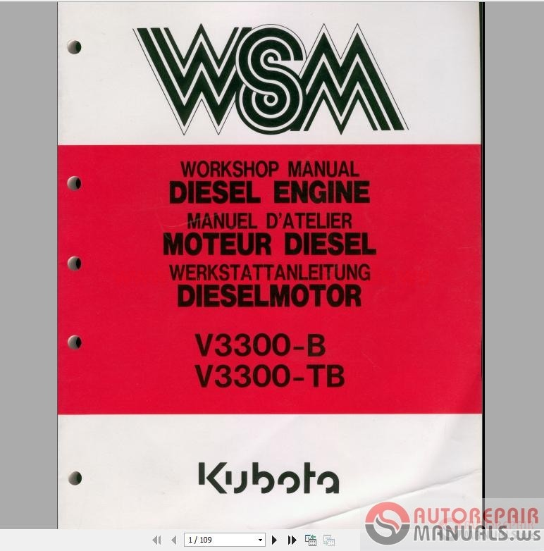 Kubota Engines Shop Manual Parts Catalog Auto Repair