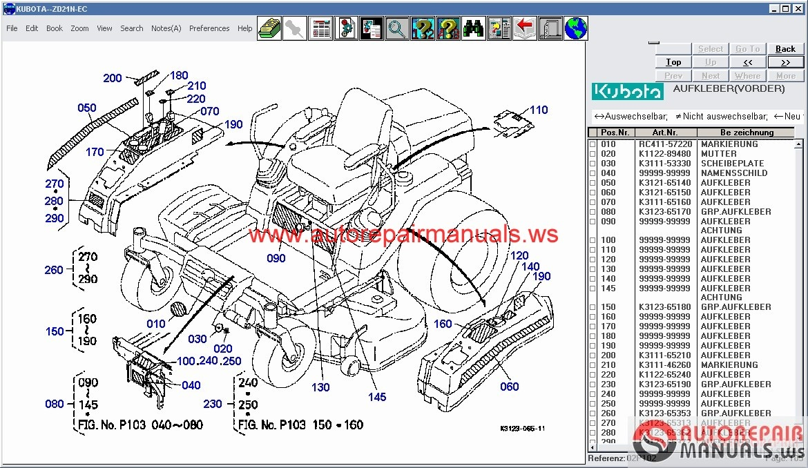 kubota tractors construction utility vehicle spare parts catalog rh autorepairmanuals ws Kubota Mower with Cab Kubota BX25D