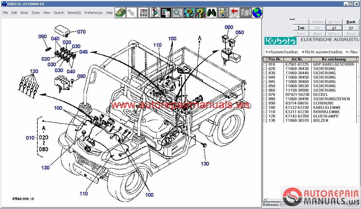 kubota tractors construction utility vehicle spare parts catalog rh autorepairmanuals ws Kubota Tractor Radio Wiring Diagram Kubota Schematics