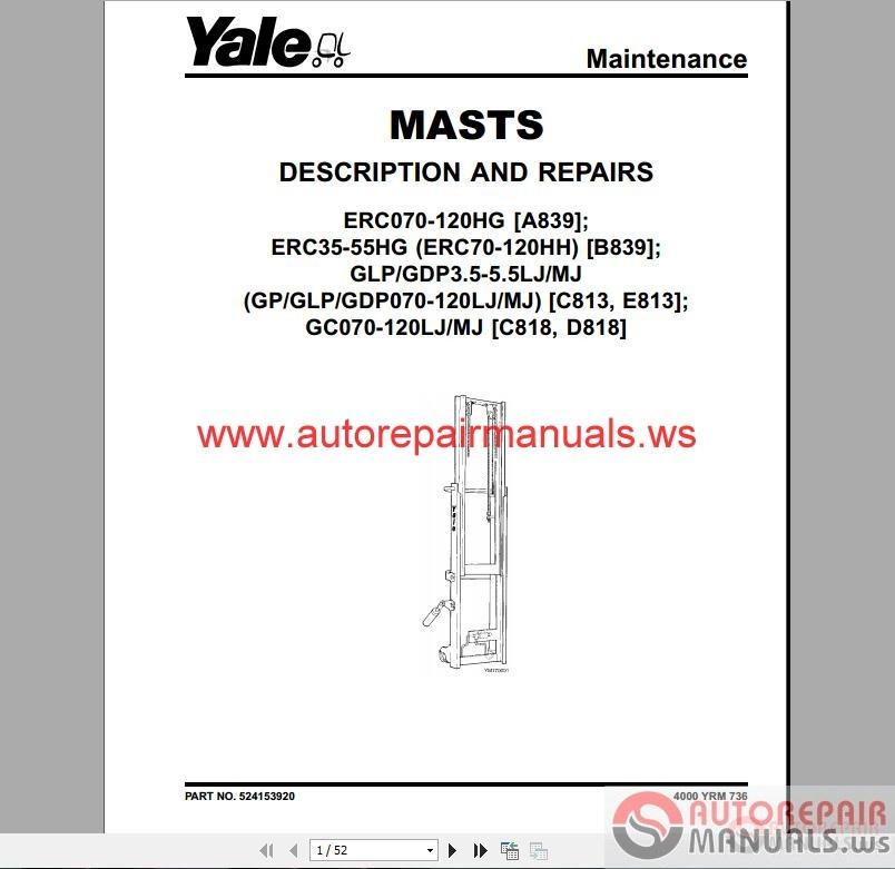 yale forklift full set pdf parts manuals auto repair manual rh autorepairmanuals ws yale forklift user manual Yale Forklift Parts Diagram