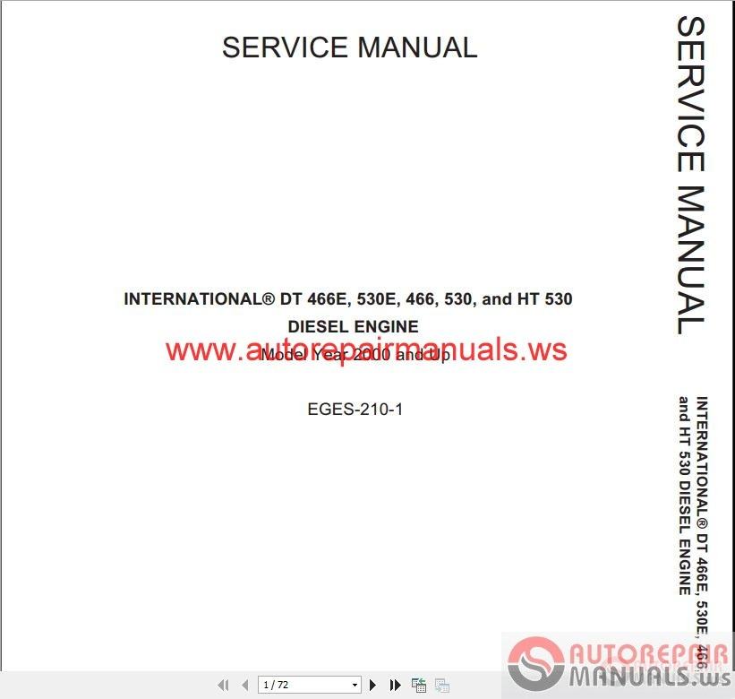 2015 Diagnostic International 4300 Dt466 Service Manual