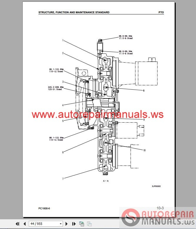komatsu excavator pc1800 6 shop manual auto repair. Black Bedroom Furniture Sets. Home Design Ideas