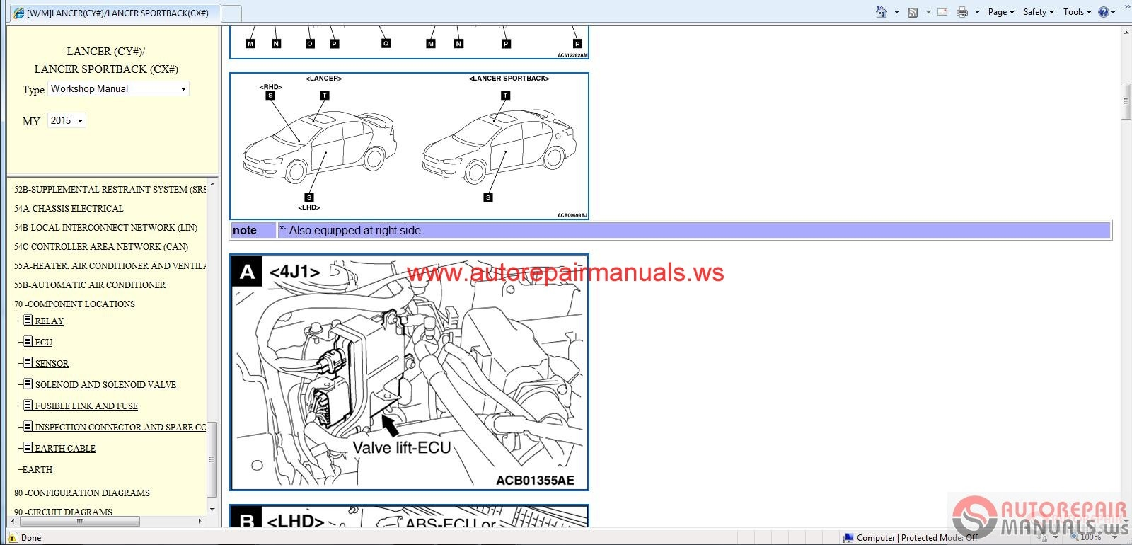 Mitsubishi Colt 1990 >> Mitsubishi Lancer 2015 and Lancer Sportback 2015  Service Manual CD |