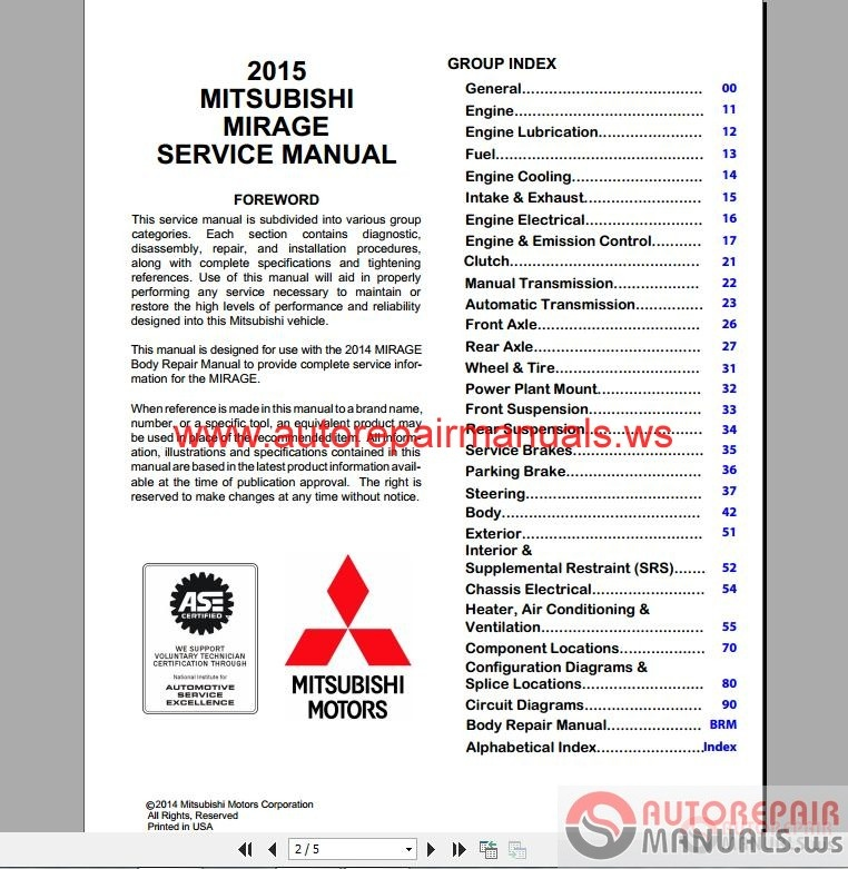 Mitsubishi Mirage 2015 Workshop Manual