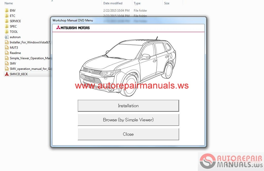 Auto Repair Manuals  Mitsubishi Outlander Eur 2016 Service Manual Cd