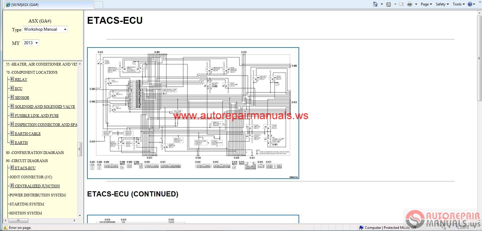 Mitsubishi Asx 2013 Repair Service Manual