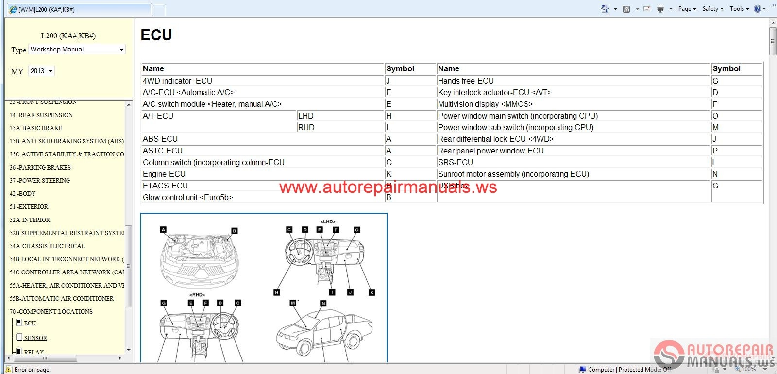 Mitsubishi L200 2013 Workshop Manual | Auto Repair Manual ...