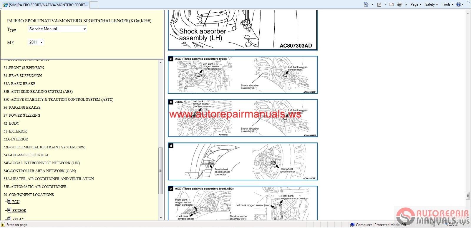 Mitsubishi Pajero Sport 2011 Service Manual Auto Repair
