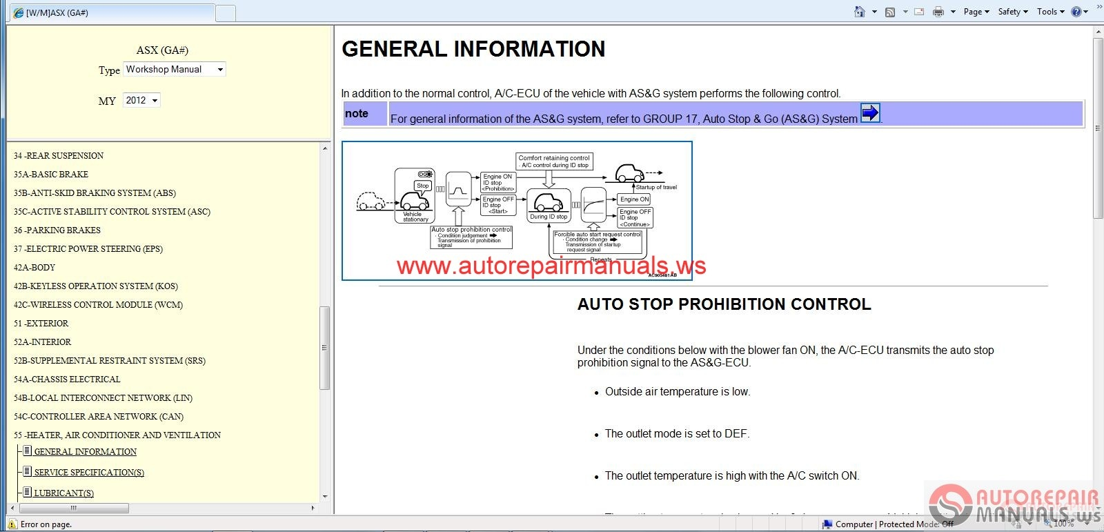 Mitsubishi Asx 2012 Workshop Manual