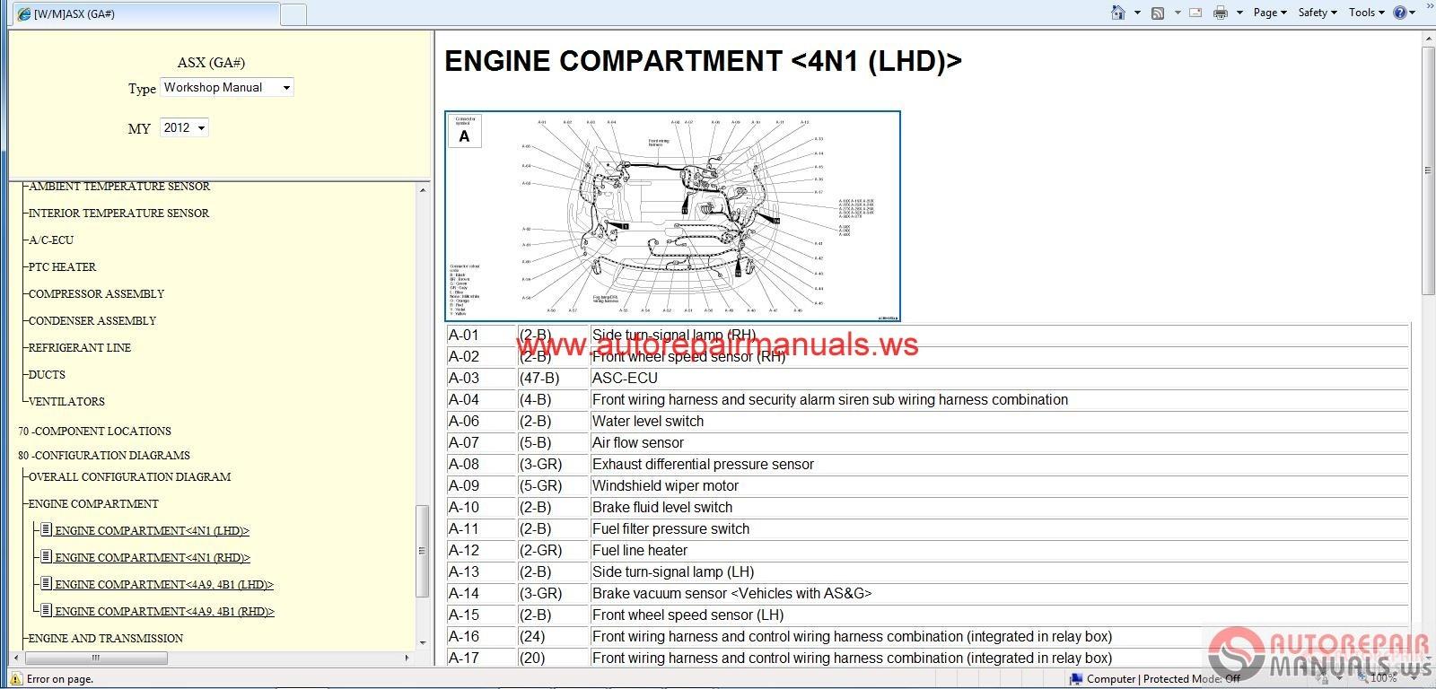Mitsubishi Asx 2012 Workshop Manual Auto Repair Manual