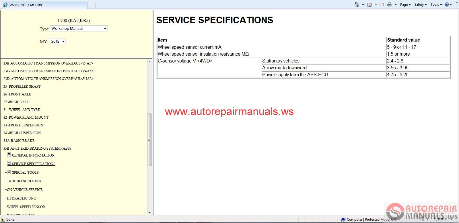 Mitsubishi L200 2012 Workshop Manual
