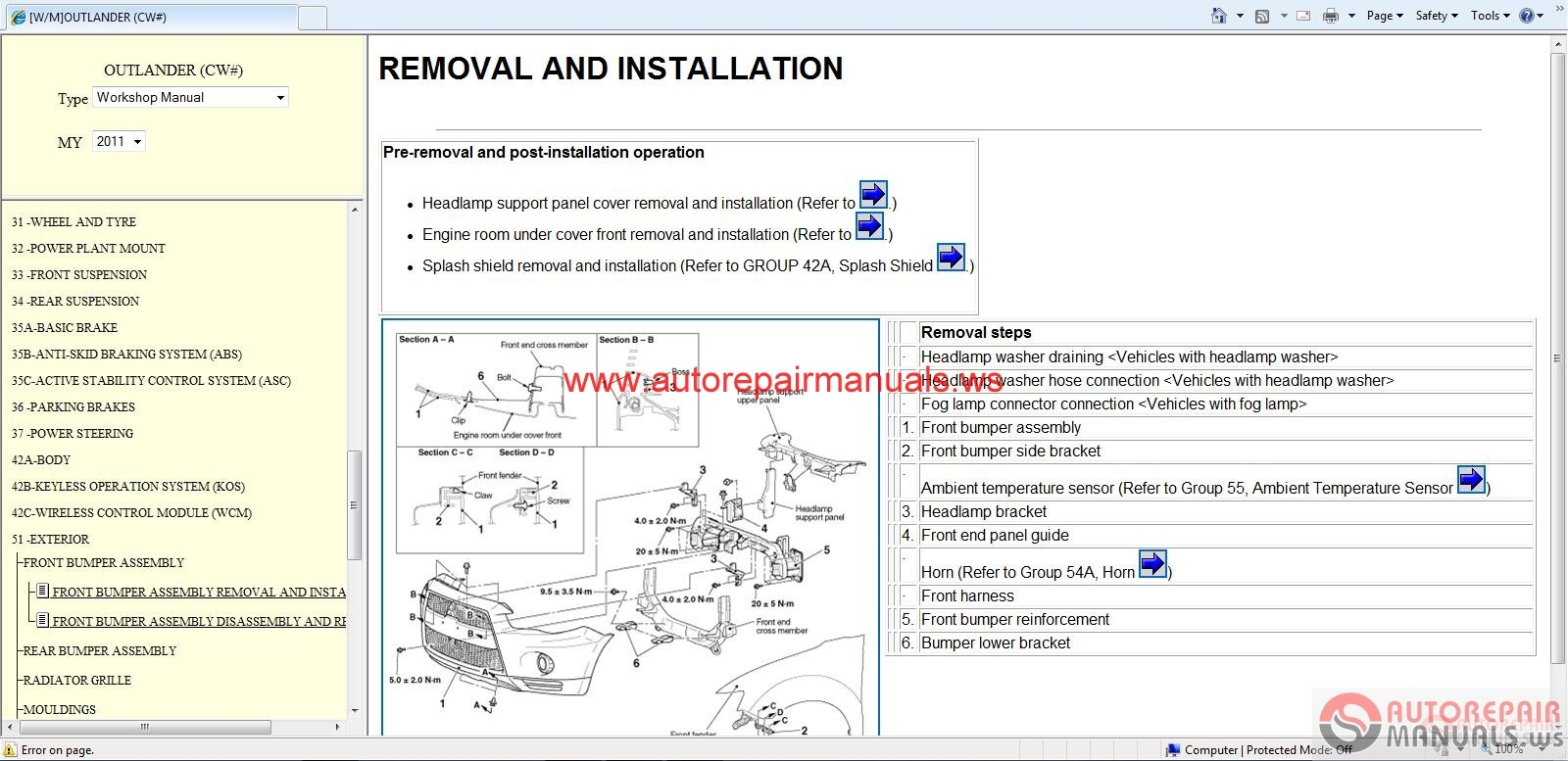 Mitsubishi Outlander 2011 Workshop Manual