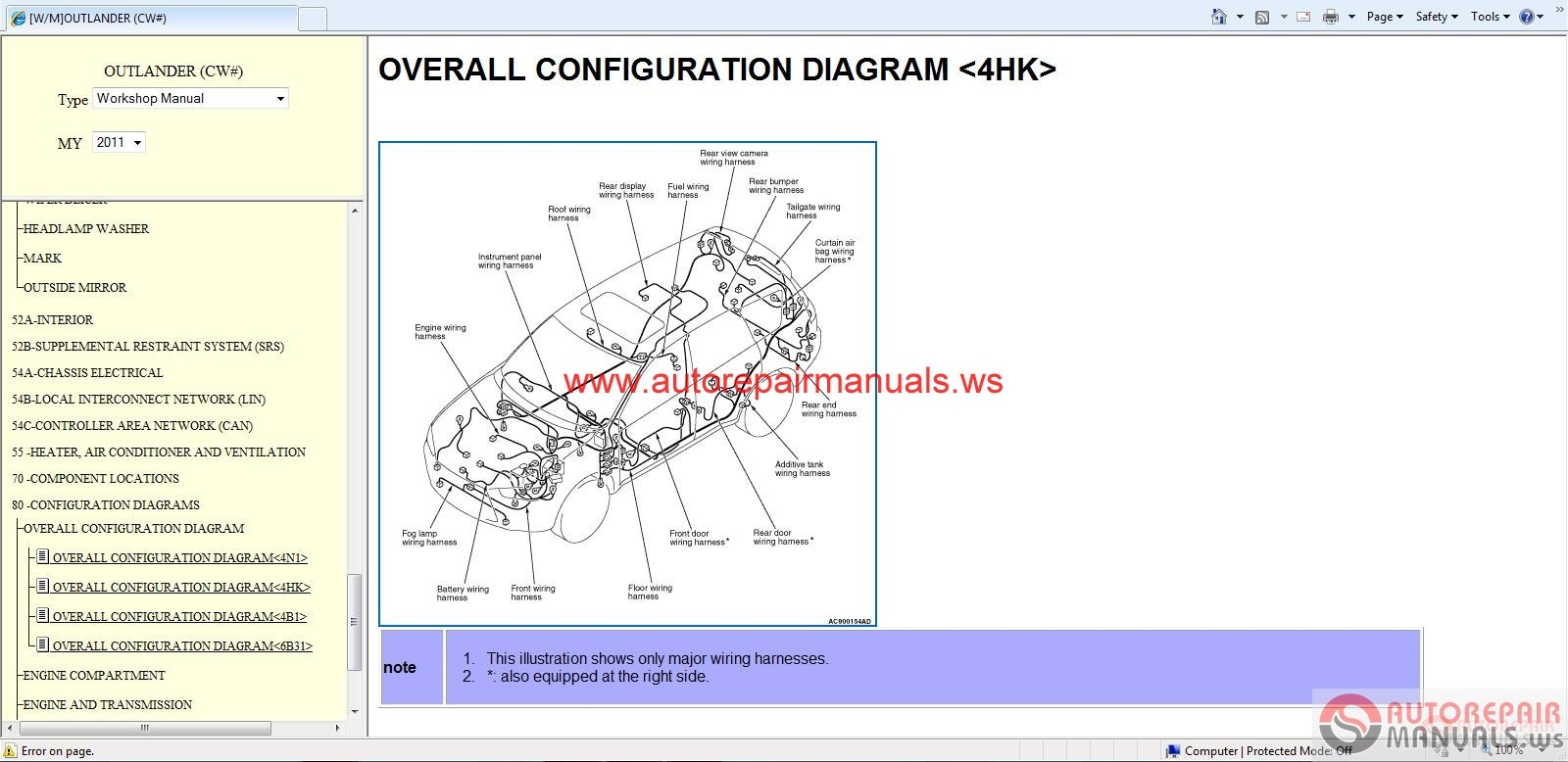 Mitsubishi Outlander 2011 Workshop Manual Auto Repair