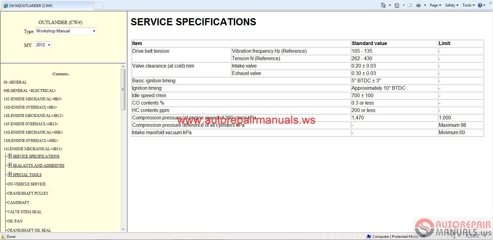 Mitsubishi Outlander Service Manual
