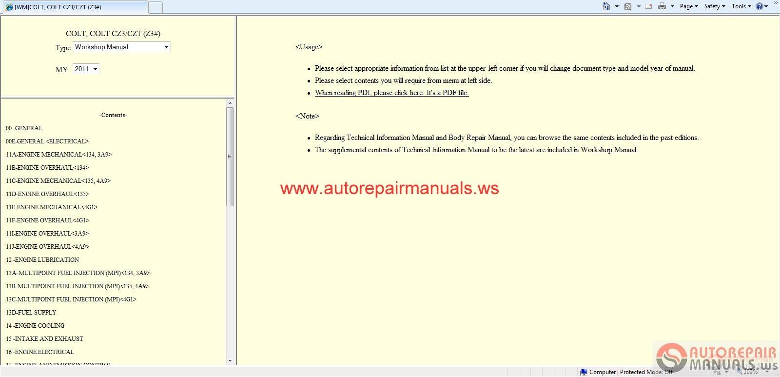 mitsubishi colt 2011 service manual auto repair manual. Black Bedroom Furniture Sets. Home Design Ideas