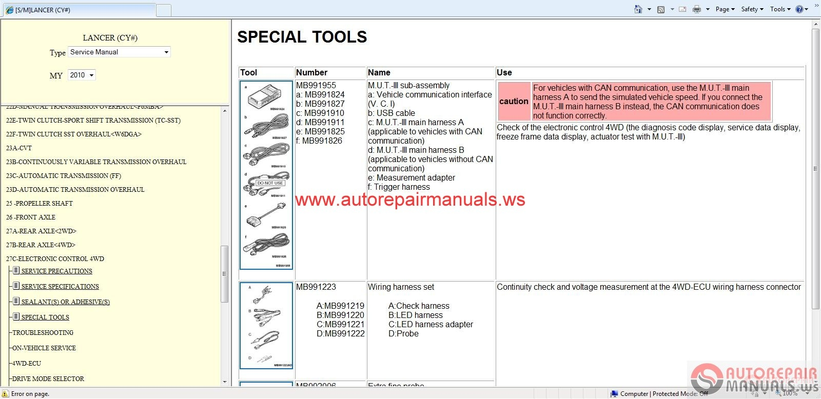 Mitsubishi Lancer 2010 Service Manual