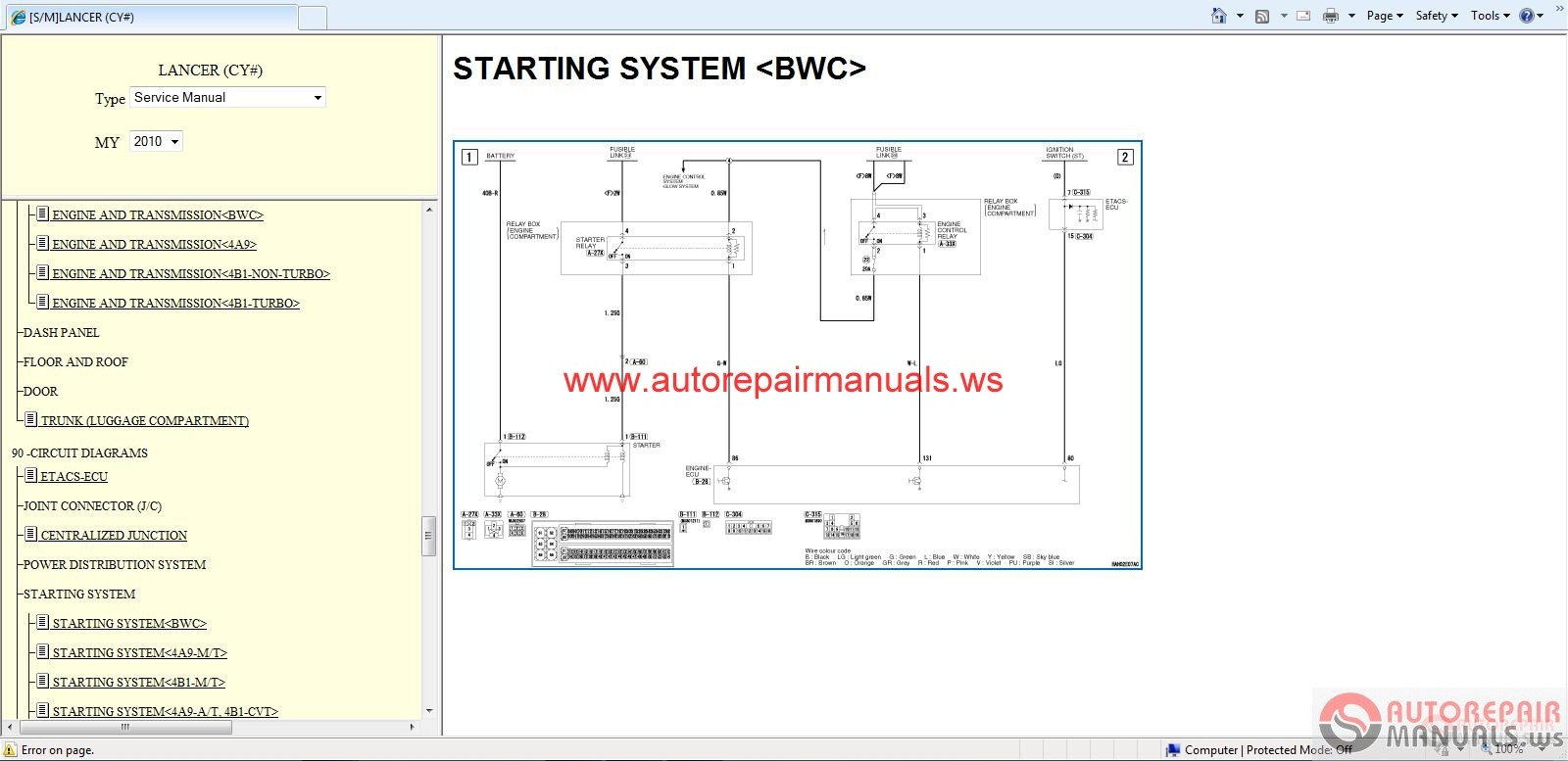 mitsubishi lancer 2010 service manual auto repair manual Mitsubishi Wiring Schematics