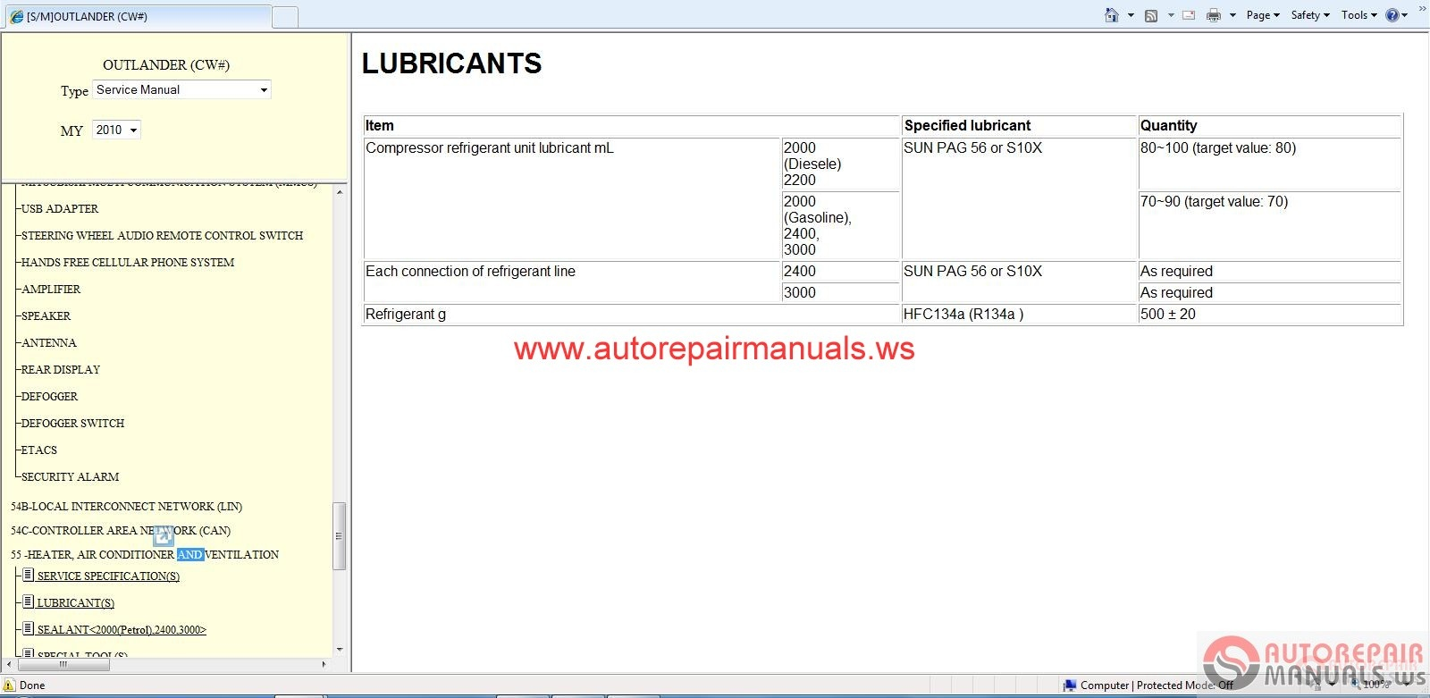 Mitsubishi Outlander 2010 Service Manual