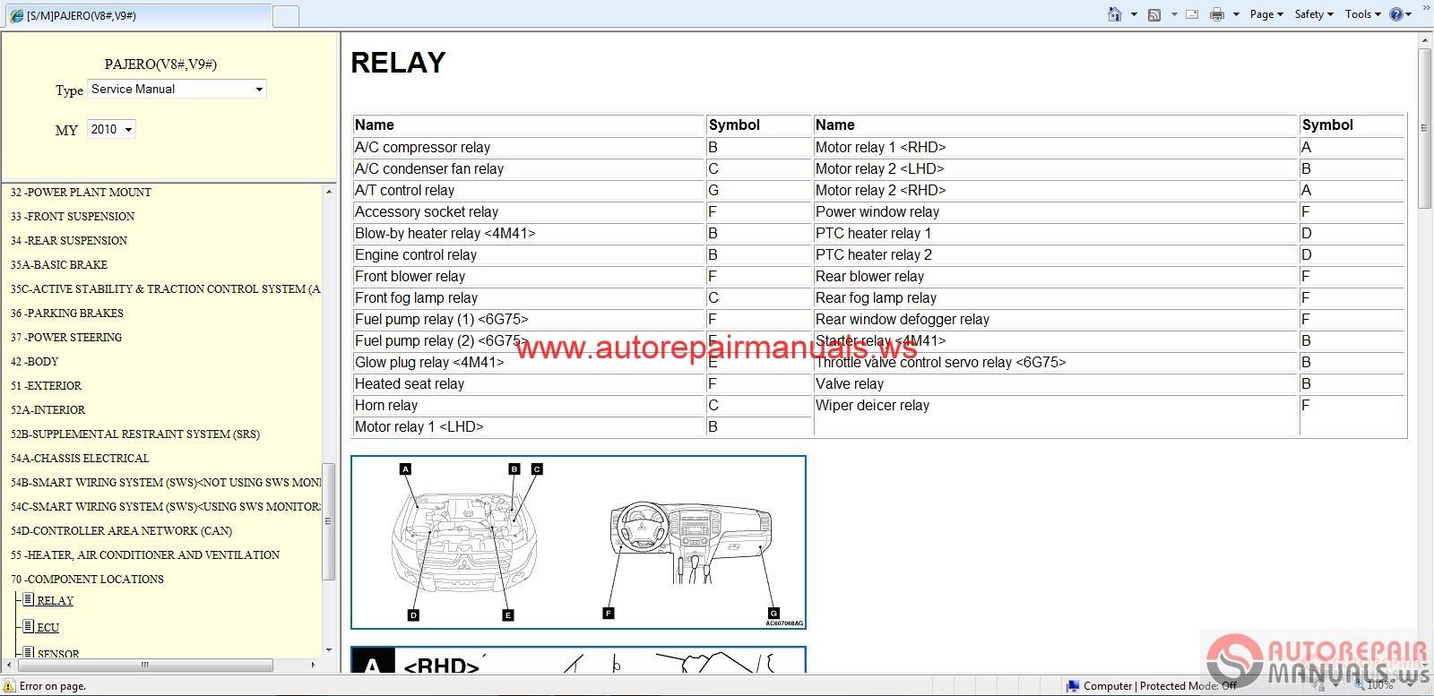 mitsubishi pajero 2010 service manual auto repair manual
