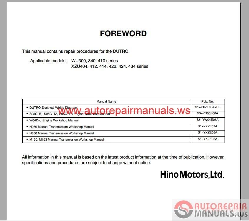 Hino Dutro Wu  U0026 Xzu Series Repair Manual