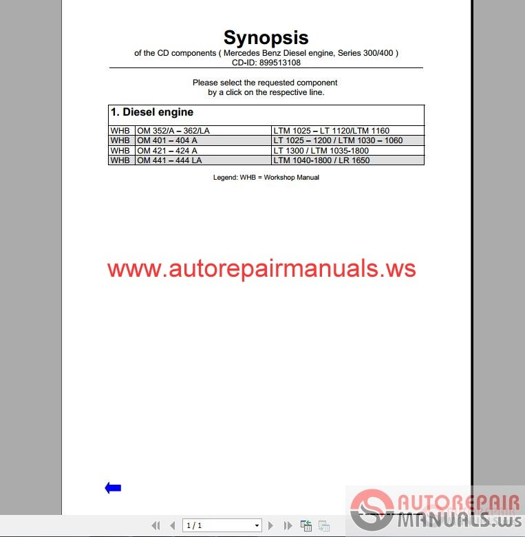Mercedes benz 300 400 series engine service manual auto for Mercedes benz online repair manual
