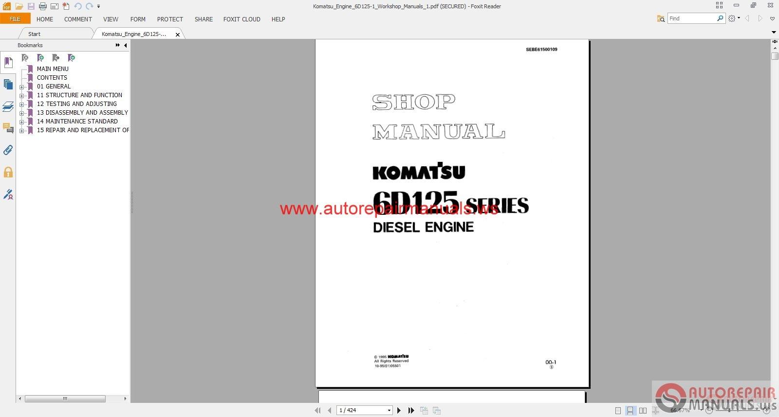 komatsu engine 6d125 1 workshop manuals auto repair. Black Bedroom Furniture Sets. Home Design Ideas