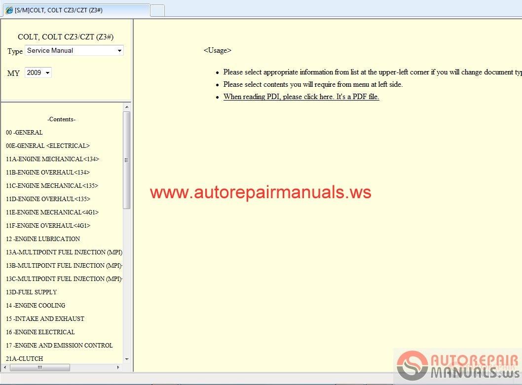 Mitsubishi Colt 2009 Service Manual