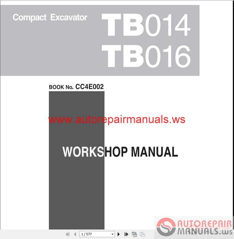 takeuchi compact excavator tb014 tb016 workshop manual. Black Bedroom Furniture Sets. Home Design Ideas